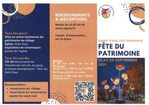 Programme Fête du Patrimoine 2021
